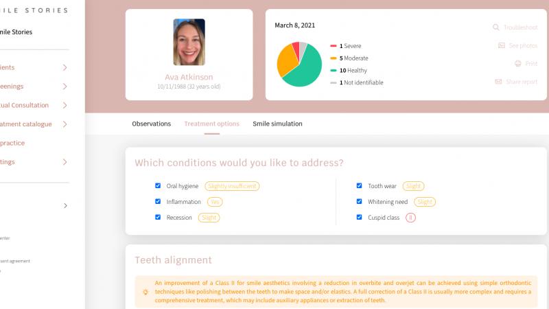 Screenshot of free smile report